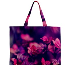 Blurry violet flowers Medium Zipper Tote Bag