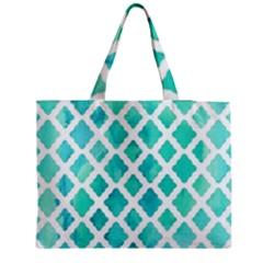 Blue mosaic  Medium Zipper Tote Bag