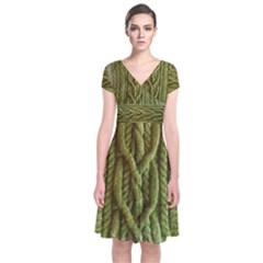 Green Cables Short Sleeve Front Wrap Dress
