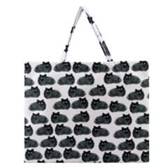 Black cat Zipper Large Tote Bag