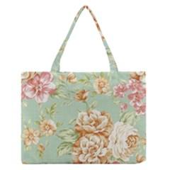 Vintage pastel flowers Medium Zipper Tote Bag
