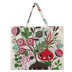 Cute flower cartoon  characters  Zipper Large Tote Bag