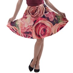 Beautiful Pink Roses  A Line Skater Skirt