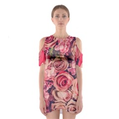 Beautiful Pink Roses  Shoulder Cutout One Piece