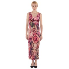 Beautiful pink roses  Fitted Maxi Dress