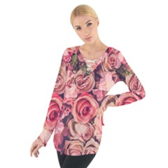 Beautiful pink roses  Women s Tie Up Tee