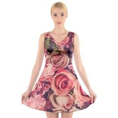 Beautiful pink roses  V-Neck Sleeveless Skater Dress