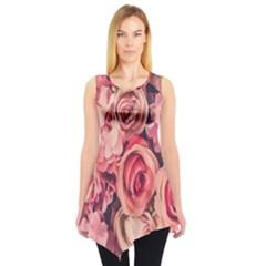 Beautiful pink roses  Sleeveless Tunic