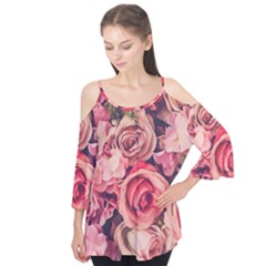 Beautiful pink roses  Flutter Tees