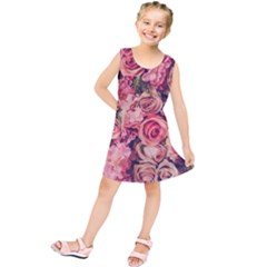 Beautiful pink roses  Kids  Tunic Dress