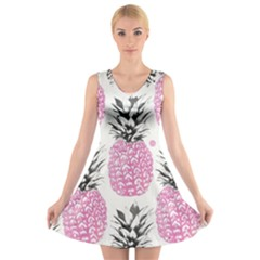 Cute pink pineapple  V-Neck Sleeveless Skater Dress