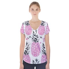 Cute pink pineapple  Short Sleeve Front Detail Top