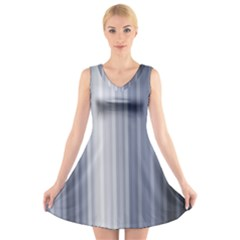 Gray Line V-Neck Sleeveless Skater Dress