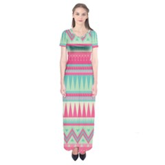 Lovely pink bohemian Short Sleeve Maxi Dress