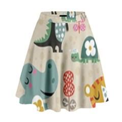 Cute cartoon animals High Waist Skirt