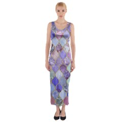 Blue moroccan mosaic Fitted Maxi Dress