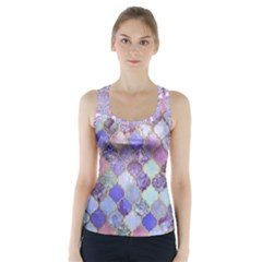 Blue moroccan mosaic Racer Back Sports Top
