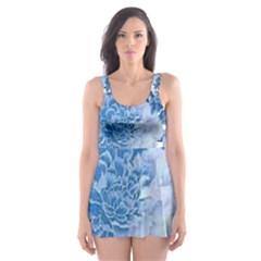 Blue flowers Skater Dress Swimsuit