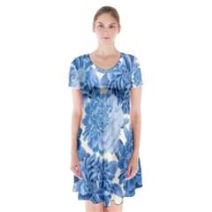 Blue flowers Short Sleeve V-neck Flare Dress