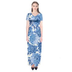 Blue flowers Short Sleeve Maxi Dress
