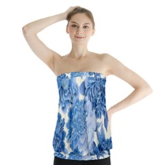 Blue flowers Strapless Top
