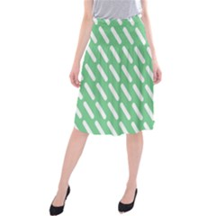 Green White Desktop Midi Beach Skirt