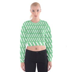 Green White Desktop Women s Cropped Sweatshirt