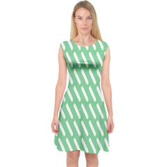 Green White Desktop Capsleeve Midi Dress