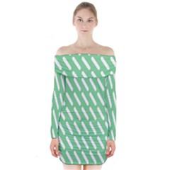 Green White Desktop Long Sleeve Off Shoulder Dress