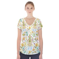 Pastel flowers Short Sleeve Front Detail Top