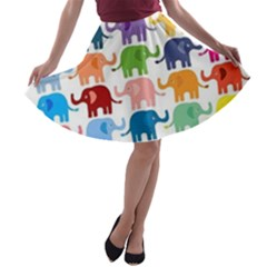 Colorful Small Elephants A Line Skater Skirt
