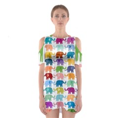 Colorful small elephants Shoulder Cutout One Piece