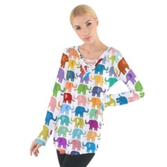 Colorful small elephants Women s Tie Up Tee