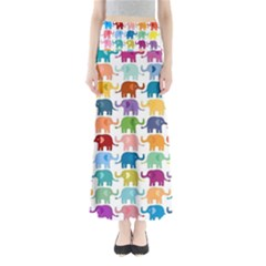 Colorful small elephants Maxi Skirts
