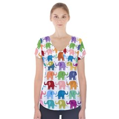 Colorful small elephants Short Sleeve Front Detail Top