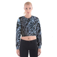 Gray Batik Blue Women s Cropped Sweatshirt