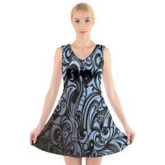 Gray Batik Blue V-Neck Sleeveless Skater Dress