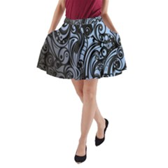 Gray Batik Blue A-Line Pocket Skirt