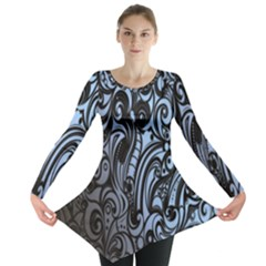 Gray Batik Blue Long Sleeve Tunic