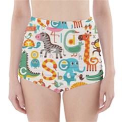 Cute cartoon animals High-Waisted Bikini Bottoms