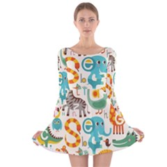 Cute cartoon animals Long Sleeve Velvet Skater Dress