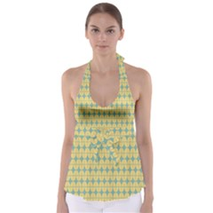 Green Yellow Babydoll Tankini Top