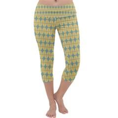 Green Yellow Capri Yoga Leggings