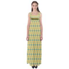 Green Yellow Empire Waist Maxi Dress