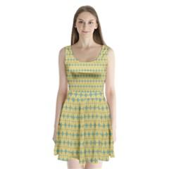 Green Yellow Split Back Mini Dress