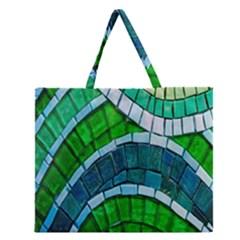 Green Zipper Large Tote Bag