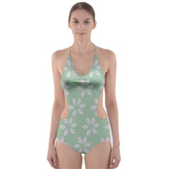 Pink Flowers On Light Green Cut-Out One Piece Swimsuit
