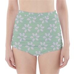 Pink Flowers On Light Green High-Waisted Bikini Bottoms