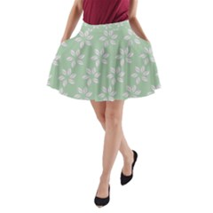 Pink Flowers On Light Green A-Line Pocket Skirt