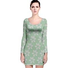 Pink Flowers On Light Green Long Sleeve Velvet Bodycon Dress